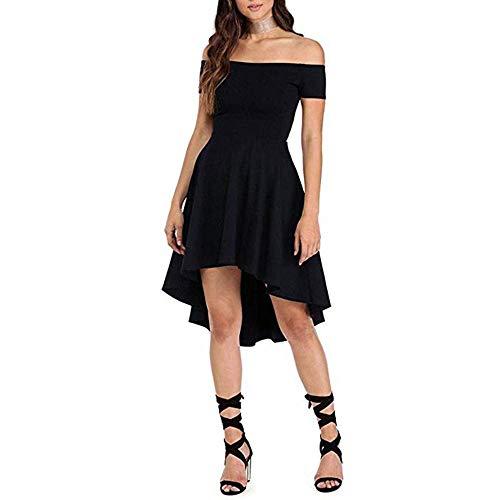 VILLAVIVI Mini Vestido De Ceremonia De La Mujer Elegante De Dama De Honor Fiesta Escote Barco (Negro, L)