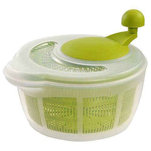 Westmark Salatschleuder, Fassungsvermögen: 5 Liter, ø 26 cm, Kunststoff, BPA-frei, Fortuna, Farbe: Transparent/Grün, 2432224A