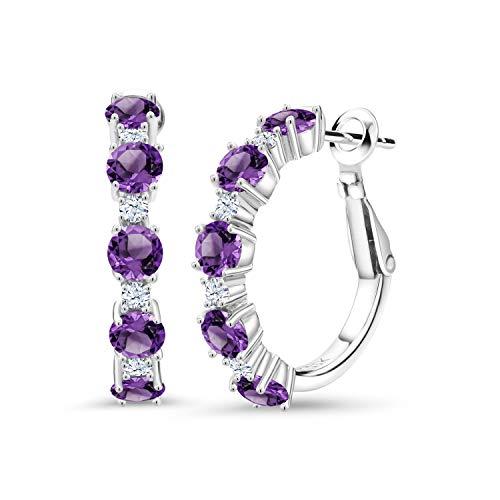 Gem Stone King 2.74 Ct Round Purple Amethyst 925 Sterling Silver Hoop Earrings