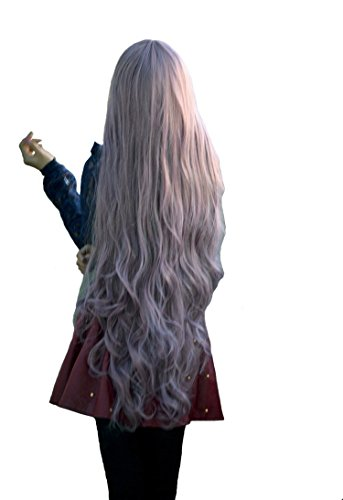 Fouriding 100cm Damen Taro+Braun Kunsthaar Lange Perücke Langhaarperücke Long Curly Wig Langhaar Lockige Perücken für Karneval Cosplay Party Fasching Kostüm Anime Haarteile