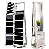 CHARMAID 360° Rotating Jewelry Armoire with Higher Full Length Mirror, Standing Lockable Jewelry Cabinet Organizer with Large Storage Capacity, Inside Makeup Mirror, Rear Storage Shelves (White)