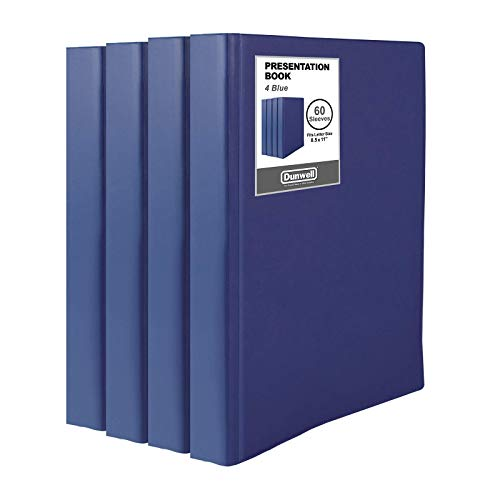 """Dunwell Binders with Plastic Sleeves - (Navy Blue, 4 Pack), 60-Pocket Bound Presentation Books with Clear Sleeves, Each Displays 120 Pages of 8.5x11"""" Portfolio, Certificates, Sheet Protector Binders"""