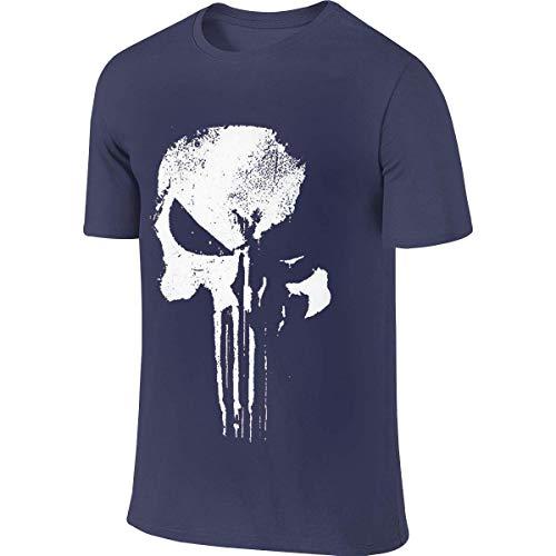 Man Designed Funny Top Sleeve T-Shirt New Daredevil Punisher Skull Logo T Shirt Camisetas y Tops(Large)