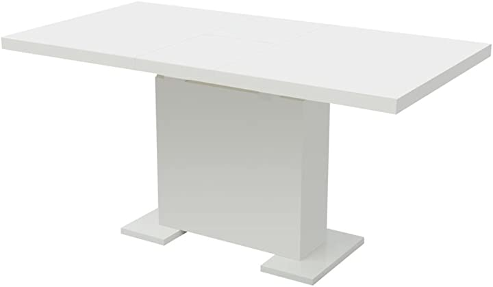 Tavolo da pranzo estensibile soggiorno bianco lucido arredo cucina vidaxl 243548