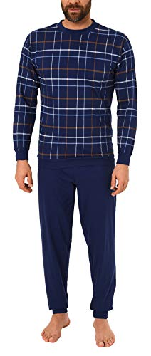 Langer Herren Schlafanzug mit Bündchen, Pyjama mit Rundhals - 281 101 90 003, Größe2:50, Farbe:Navy