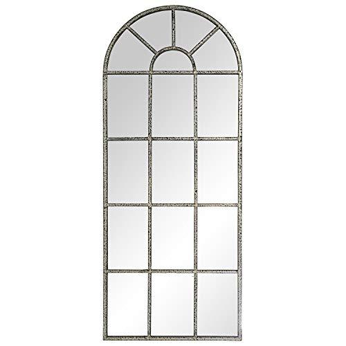 DRW Espejo de Pared con Forma de Ventana de Metal en Plata y Negro Envejecido
