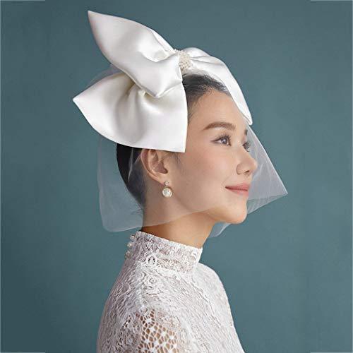 Bridal Wedding Bird Cage Veil, Satin big Bow Bead veil, Church dance Halloween Party hair Accessories