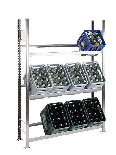 Getränkekistenregal Kastenständer 1800 x 1360 x 336 mm, komplett verzinkt, 3 Ebenen, für bis zu 12 Kästen; Industriequalität MADE IN GERMANY