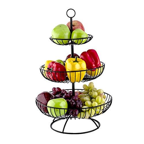 TOROTON 3 Stöckig Obstkörbe, Schwarz Obst Etagere, Obstschale Gemüsekorb aus Metall