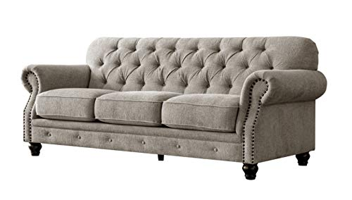 Acanva Luxury Chesterfield Chenille Diamond Tufted Living Room Sofa, 91' W Couch, Almond