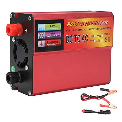 Yctze DC24V a AC220V Inversor de potencia, 500 W Convertidor de potencia rojo Convertidor de onda sinusoidal modificada con pantalla LED Volatge Cargador USB para coche inteligente