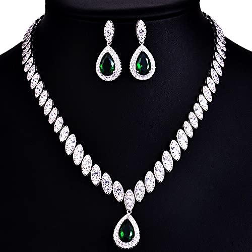 yuge Conjunto de joyas de boda, para mujer, plata de ley 925 con diseño de gota de pendientes de collar, joyería de boda verde