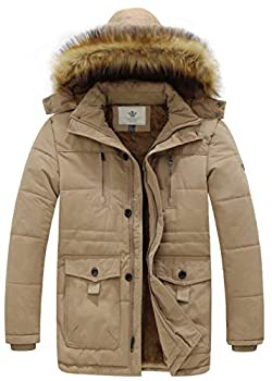 WenVen Men s Hooded Warm Coat Winter Parka Jacket Khaki Large