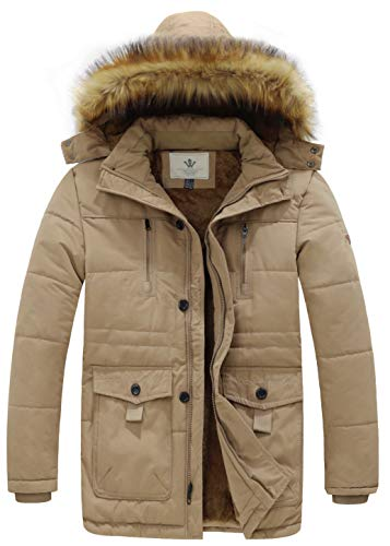 WenVen Men's Hooded Warm Coat Winter Parka Jacket (Khaki, Medium)