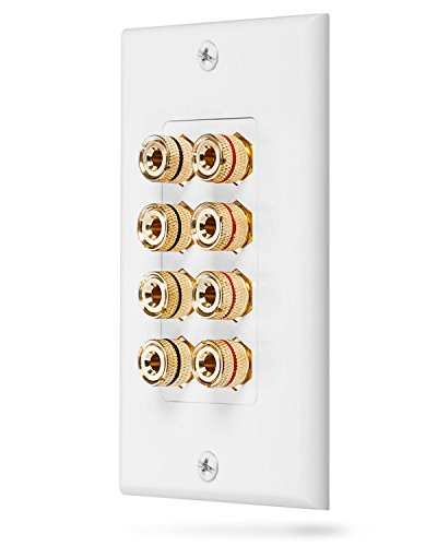 Fosmon [Quad Speaker] Home Theater Wall Plate - Premium Quality Gold Plated Copper Banana Binding Post Coupler Type Wall Plate for 4 Speakers (White)