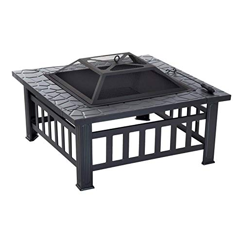 Liu 32 Inch Outdoor Square Metal Firepit Backyard Patio Garden Stove Wood Burning BBQ Fire Pit With Rain Cover, Faux-Stone Finish