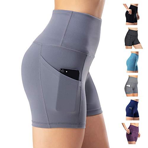 Damen Leggings Yogahosen Sporthose Tights Laufhose High Waist mit Taschen Dehnbar Jogginghose Yoga Sport Fitness Laufen(Grau,L
