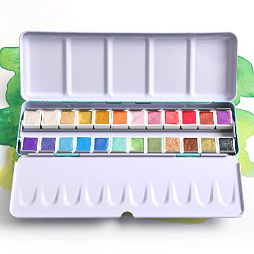 24 Color Artist Watercolor Paints Professional Metallic Glitter Solid Colors Blue Metal Case with Palette for Artists, Art Painting, Ideal for Watercolor Techniques