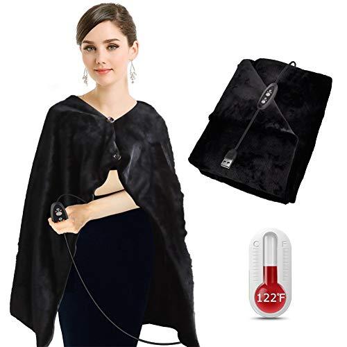 Mijoyo Elektrische verwarmde sjaal met 3 warmtestanden, warm, extra zacht, wasbaar, voor slaapbank of bed, reizen, ontvangst, gebruik