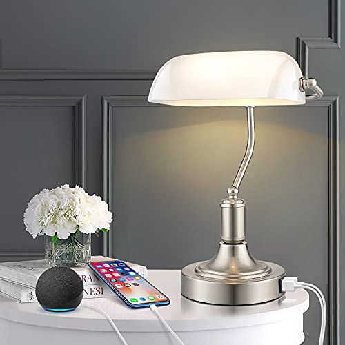 Glass Banker's Lamp with 2 Fast ...