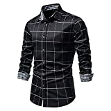 XUEbing Camisas de vestir para hombre de manga larga casual slim fit impreso Pliad botón abajo camisas cuello ligero Tops blusa, Negro, XXL
