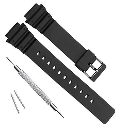 OliBoPo Ersatzarmband für Casio MRW-200H, wasserdicht, Naturharz, für Damen schwarz