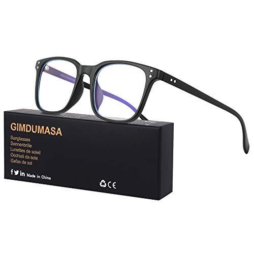 Gimdumasa Blaulichtfilter Brille Computerbrille Pc Gaming Bluelight Filter Uv Blueblocker Glasses Anti Damen Herren Ohne Stärke Entspiegelt (Schwarz)