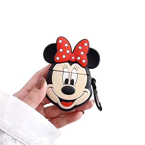 Cocomii 3D Disney AirPods Hülle, Schlank Dünn Matte Sanft TPU Silikon Gummi Gel Mit Schlüsselring 3D-Disney-Figuren Karikatur Case Bumper Cover Schutzhülle Compatible with Apple AirPods (Minnie Face)