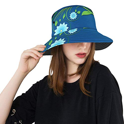 RAUP Abstract Spring Floral Ornament On Blue Bucket Hats Summer Travel Beach Sun Hat Outdoor Cap Unisex