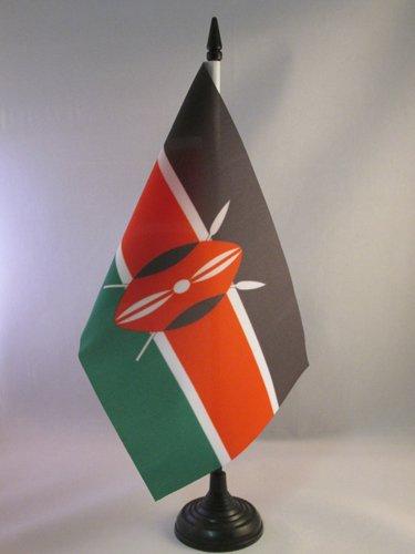 AZ FLAG TISCHFLAGGE Kenia 21x14cm - KENIANISCHE TISCHFAHNE 14 x 21 cm - flaggen