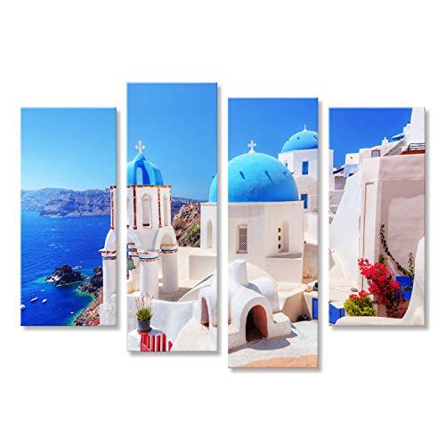 Cuadro Cuadros Ciudad de Oia en la Isla de Santorini, Grecia Impresión sobre Lienzo - Formato Grande - Cuadros Modernos