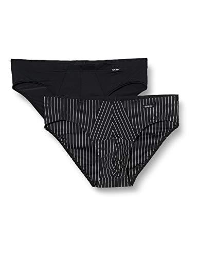 Skiny Herren Brasil 2er Pack Power Line Slip, Mehrfarbig (Blackstone Selection 2516), Small (Herstellergröße: S)