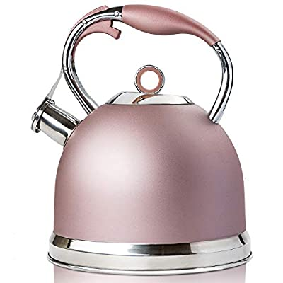 Tea Kettle Best 3 Quart induction Modern Stainless Steel Surgical Whistling Teapot - Pot For Stove Top,Rose-gold