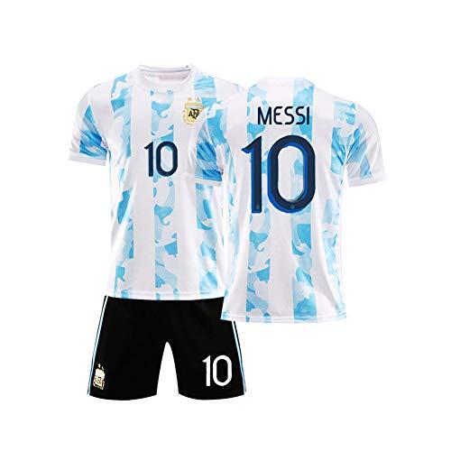 LCHENX-Niños Argentina Soccer Lionel Messi # 10 Fanáticos Conjunto de Camiseta de Fútbol Camiseta y Pantalones Cortos Casuales Cómodos y Transpirables Ropa Deportiva,Blanco,8Years