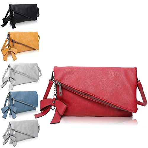 Clutch 2-in-1 - Kleine Handtasche Rot Elegante Abendtasche - Damen Umhängetasche - Schultertasche Abnehmbarer Gurt - inkl. Schleife