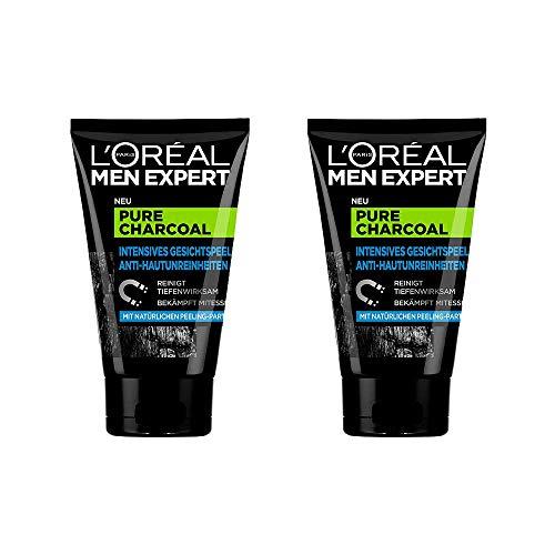 L'Oréal Men Expert Pure Charcoal Kohle, Gesichtspeeling gegen unreine, fettige und ölige Männerhaut und Mitesser Porenreiniger - für klare Haut (2 x 100 ml)
