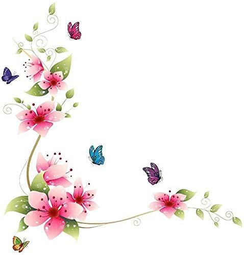 Dnven calcomanías de Pared extraíbles de 24 Pulgadas x 25 Pulgadas, calcomanías de Vinilo para Pared de dormitorios, baños, Azulejos con Flores y Mariposas