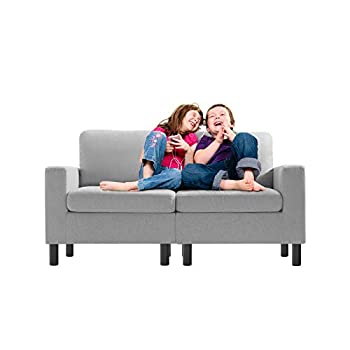Pretzi 54 inch Kids Sofa Linen Fabric 2-Seater Upholstered Teen Couch Mini Loveseat Sofa Big Kids Edition Perfect for Children Gift Kids Room Playroom Children Furniture Small Space  Light Grey