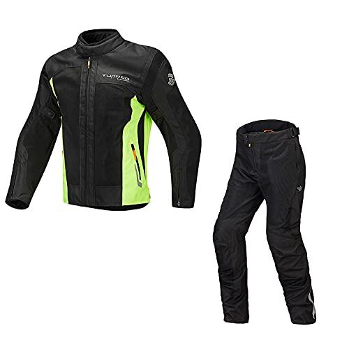 WFGZQ Chaqueta de Motocicleta para Hombres Traje de Pantalón Reflectante con Protección Extraíble Tanspirable Impermeable