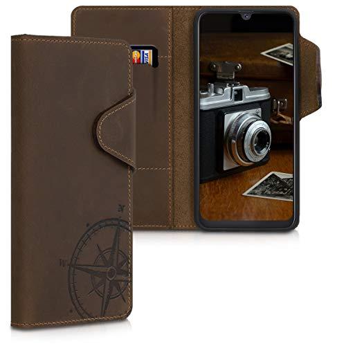 kalibri Samsung Galaxy A50 Hülle - Leder Handyhülle für Samsung Galaxy A50 - Handy Wallet Case Cover - Kompass Vintage Design Braun