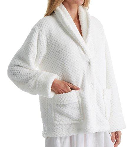 LA CERA Women's 100% Polyester Honeycomb Fleece Bed Jacket 8825 3X White
