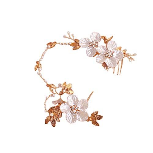 Lurrose Novia pedrería tocado hecho a mano perla pinza de pelo pin...