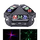 DELIBANG Mini cabezal móvil con 9 luces LED RGB de 10 W con DMX512 y activación de sonido, luz de discoteca adecuada para KTV, bares, fiestas, DJ,...