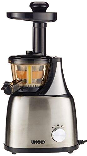 UNOLD 78255 Slow Juicer, Vitaminschonende Saftausbeute durch langsame Umdrehungen, Edelstahl-Design, 53-80U/Min, 160 W, 1 L