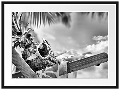 Picati Ananas Macht Urlaub Bilderrahmen mit Galerie-Passepartout/Format: 80x60cm / garahmt/hochwertige Leinwandbild Alternative