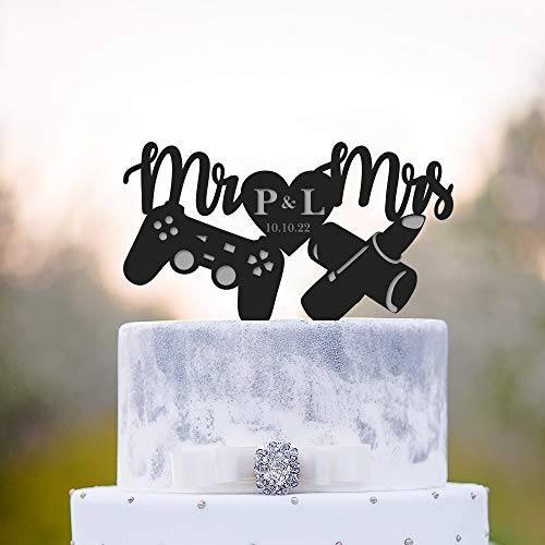 Cake Toppers Personalized Game Controller Makeup Cake Topper Wedding Make Up Cake Topper Custom Gamer Wedding Cake Topper Video Game Wedding Lipstick Cake Topper for Men Women