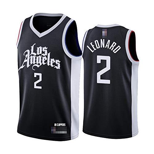 Camisetas De Baloncesto para Hombre, NBA Los Angeles Clippers # 2 Kawhi Leonard - Chaleco Fresco Y Transpirable Uniformes Camisetas Sin Mangas De Confort Clásico,Negro,M(170~175CM)