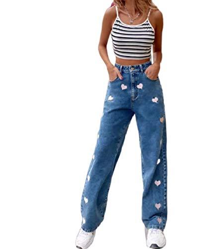 JUNMIN Personalidad Graffiti Impresión Suelta Pierna Recta Jeans Mujeres Moda High Cintura Jeans (Size : X-Small)