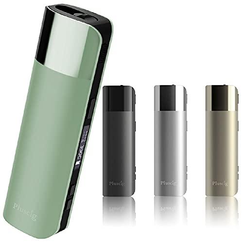 Pluscig S10 加熱式たばこ アイコス互換機 本体 デジモク クロス付 連続 50本 液晶 デジタルディスプレイ スターターキット 加熱式タバコ 電子たばこ 電子タバコ 互換 互換機 プラスシグ エステン (エメラルドグリーン)