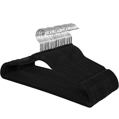 SONGMICS Kleiderbügel Samt, 30er Set, Jackenbügel mit Rutschfester Oberfläche, 42 cm lang, Anzugbügel, dünn, robust, gut belastbar, um 360° drehbarer Haken, für Mäntel, Hemden, schwarz CRF26BK
